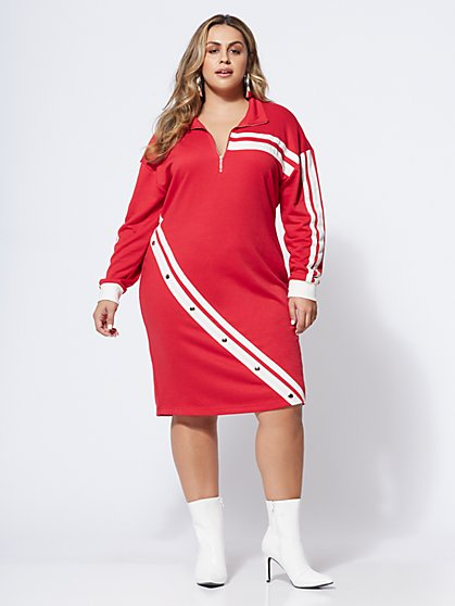 Plus Size Sporty Zip Dress - Fashion To Figure