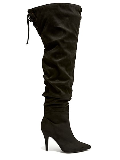 Plus Size Stacked - Black Ruched Thigh High Boots - Fashion To Figure