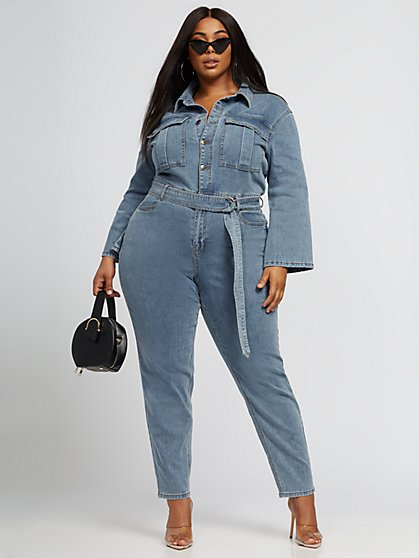 Plus Size Stacy Denim Utility Jumpsuit - Fashion To Figure