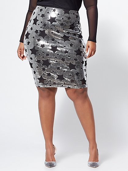 Plus Size Star-Accented Sequin Pencil Skirt - Fashion To Figure