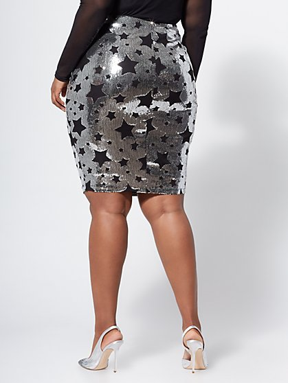 857a1893792 ... Plus Size Star-Accented Sequin Pencil Skirt - Fashion To Figure