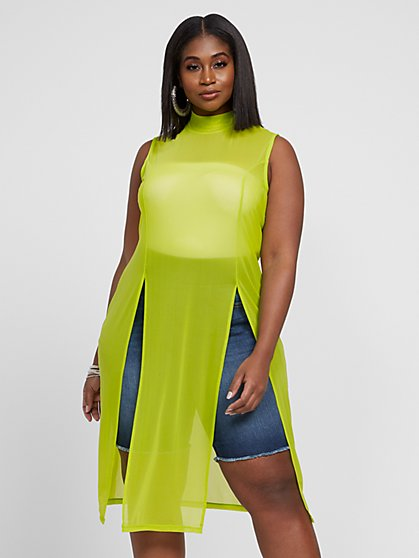Plus Size Starr Lime Sleeveless Mesh Tunic - Fashion To Figure