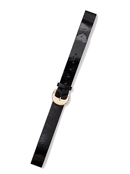 Plus Size Statement Buckle Patent Belt - Fashion To Figure