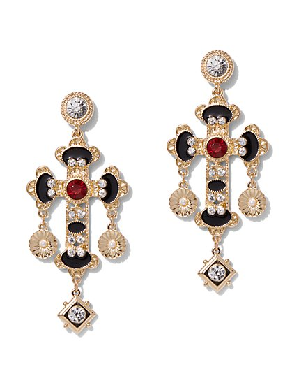 Plus Size Statement Cross Earrings - Fashion To Figure