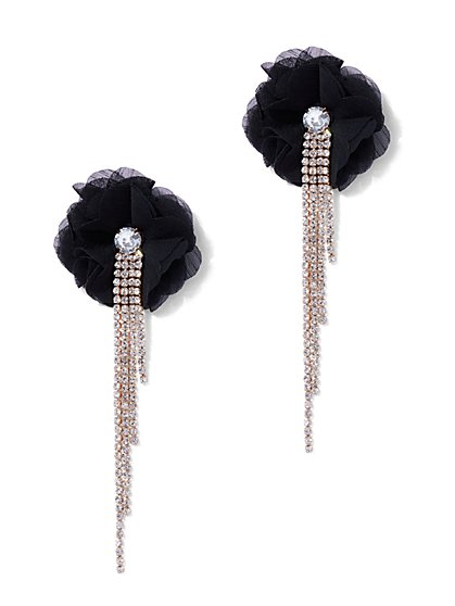 Plus Size Statement Rhinestone Floral Earrings - Fashion To Figure
