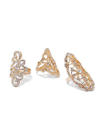 Plus Size Statement Ring Set - Fashion To Figure