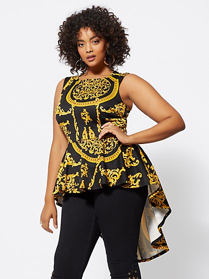 Plus Size Status-Print Peplum Top - Fashion To Figure