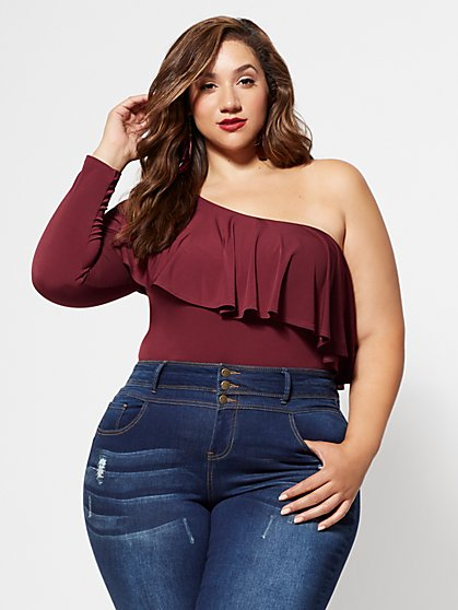 Plus Size Stella One-Shoulder Top - Fashion To Figure