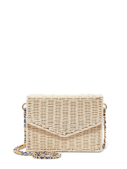 Plus Size Straw Box Crossbody Bag - Fashion To Figure