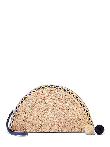 Plus Size Straw Pom-Pom Clutch - Fashion To Figure