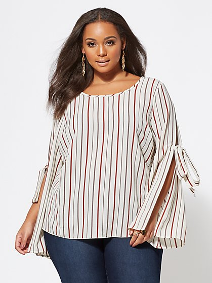 Plus Size Striped Alina Bow-Sleeve Top - Fashion To Figure