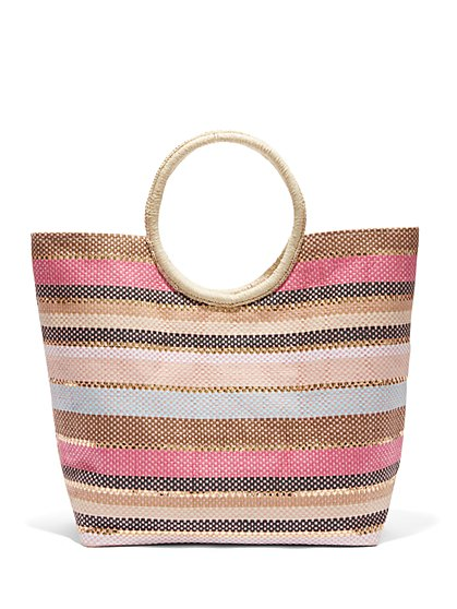Plus Size Striped Beach Tote Bag - Fashion To Figure