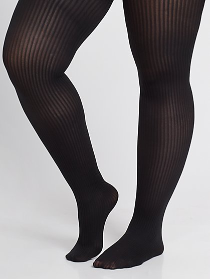 Plus Size Striped Black Tights - Fashion To Figure