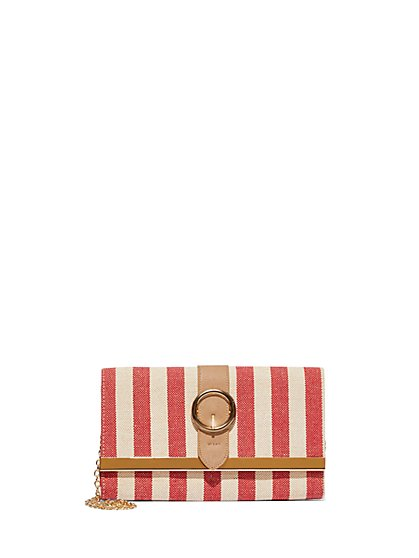 Plus Size Striped Buckle Clutch - Fashion To Figure