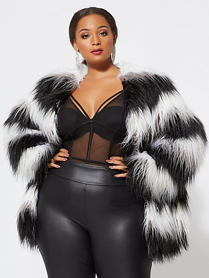 Plus Size Striped Faux-Fur Jacket - Fashion To Figure