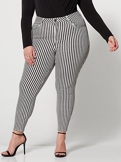 Plus Size Striped High-Rise Skinny Jeans - Fashion To Figure