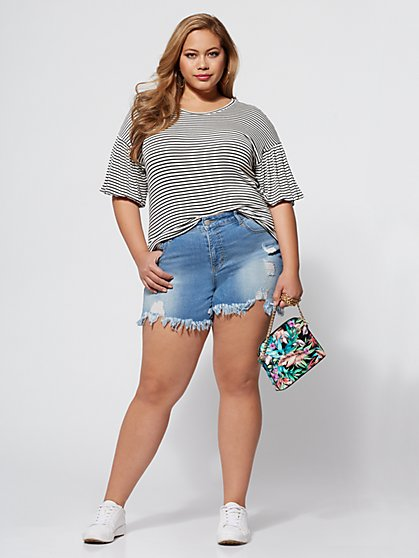 Plus Size Striped Ruffle-Sleeve Tee - Fashion To Figure