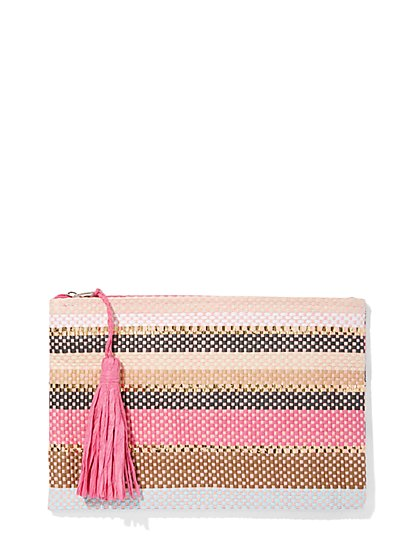 Plus Size Striped Zip Pouch - Fashion To Figure