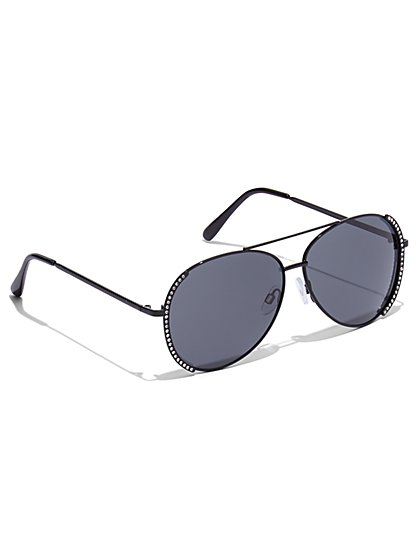 Plus Size Studded Aviator Sunglasses - Fashion To Figure