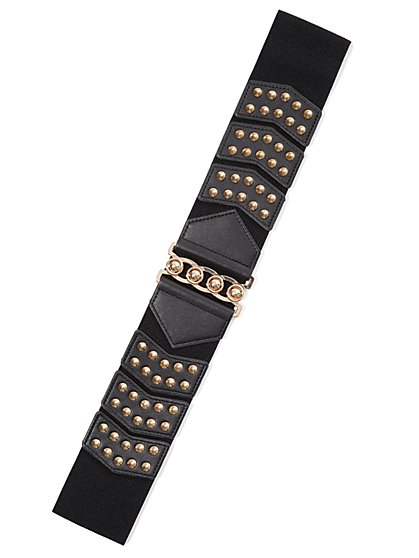 Plus Size Studded Black Stretch Belt - Fashion To Figure