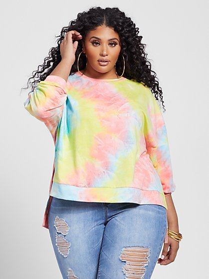 Plus Size Sunni Tie Dye Pullover - Fashion To Figure