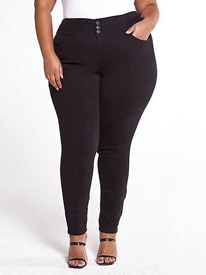 Plus Size Super Skinny Jeans with Wide Waistband - Fashion To Figure