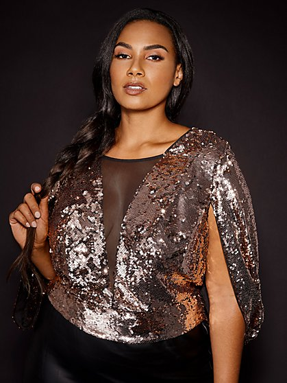 Plus Size Syd Sequin Cape Top - Gabrielle Union x FTF - Fashion To Figure