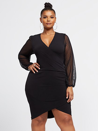 Plus Size Sylvie Mesh Sleeve Black Dress - Fashion To Figure