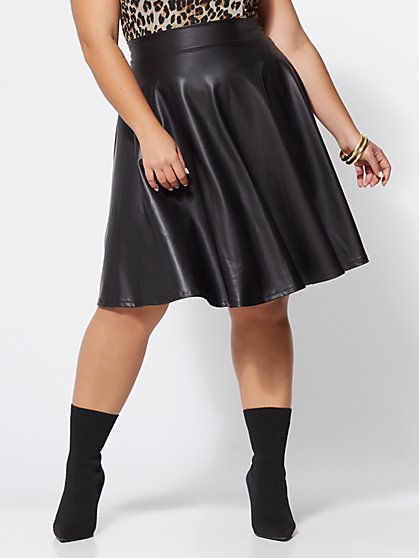 Plus Size Symone Faux-Leather Flare Skirt - Fashion To Figure