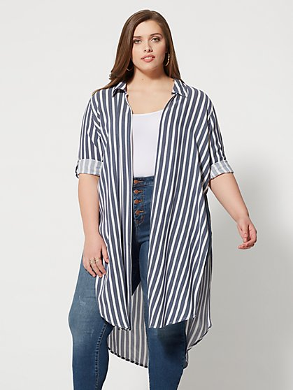 Plus Size Tabbie Button-Up Duster - Fashion To Figure