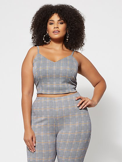 Plus Size Tabbie Plaid Crop Top - Fashion To Figure