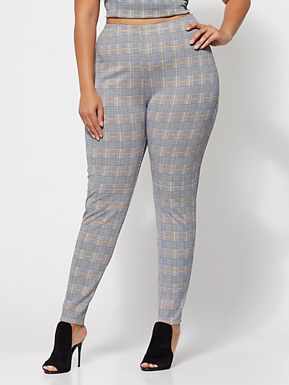 Plus Size Tabbie Plaid Skinny Pants - Fashion To Figure
