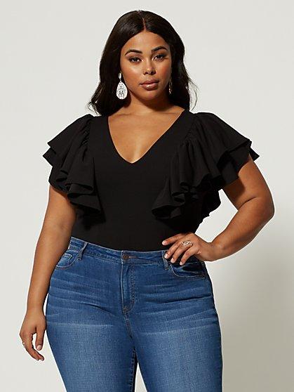 3b1f1d6ab41b8b Plus Size Tahnee Flutter Sleeve Bodysuit - Fashion To Figure ...