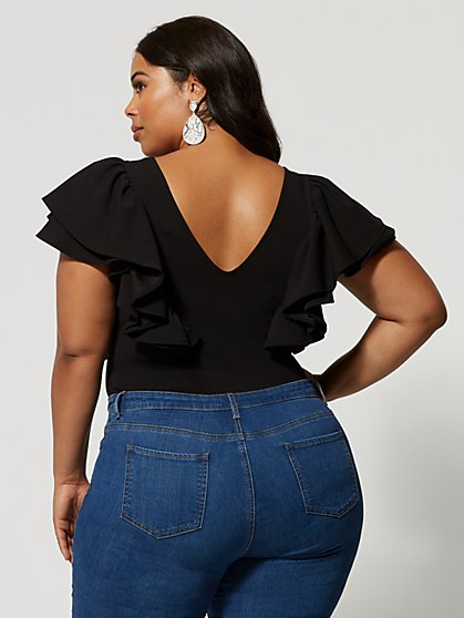 edbab3864e3 ... Plus Size Tahnee Flutter Sleeve Bodysuit - Fashion To Figure ...