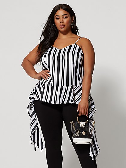 Plus Size Tailynn Stripe Drape Tank - Fashion To Figure