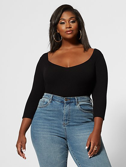 Plus Size Tallulah Sweetheart Neck Knit Bodysuit - Fashion To Figure