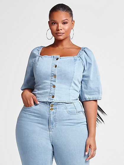 Plus Size Tamara Button Front Denim Top - Fashion To Figure