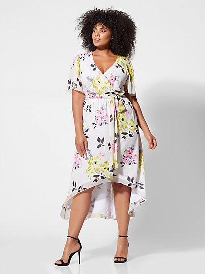 Plus Size Tamara Floral Wrap Dress - Fashion To Figure