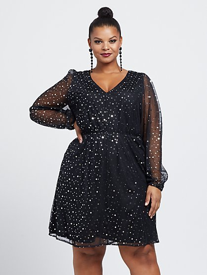 Plus Size Tamara Shimmery Flare Dress - Fashion To Figure
