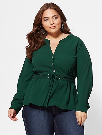 Plus Size Tami Corset Peplum Top - Fashion To Figure