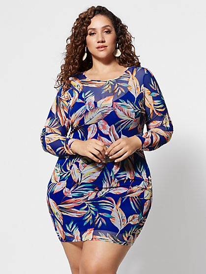 Plus Size Tamia Floral Mesh Bodycon Dress - Fashion To Figure