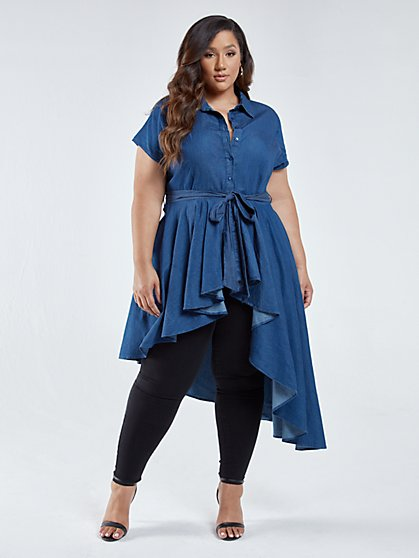 Plus Size Tammy Denim Drama Button-Up Top - Fashion To Figure