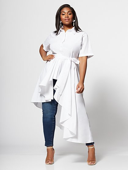 Plus Size Tammy White Drama Button-Up Top - Fashion To Figure