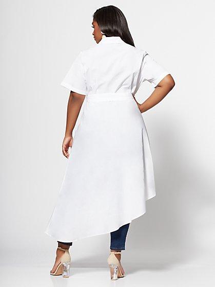 5a67818e ... Plus Size Tammy White Drama Button-Up Top - Fashion To Figure ...