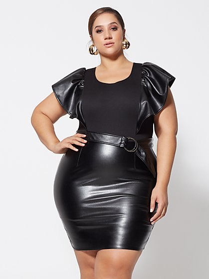 Plus Size Tamra Faux-Leather Bodycon Dress - Fashion To Figure