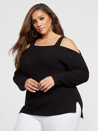Plus Size Tana Cold Shoulder Sweater - Fashion To Figure