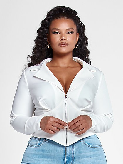 Plus Size Tania Zip Front Fitted Shirt - Fashion To Figure