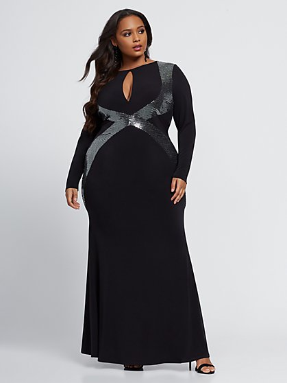 Plus Size Tara Metallic Trim Maxi Dress - Fashion To Figure