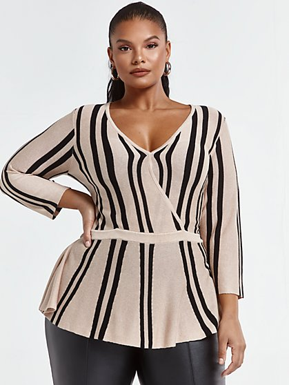 Plus Size Tara Striped Peplum Sweater - Fashion To Figure