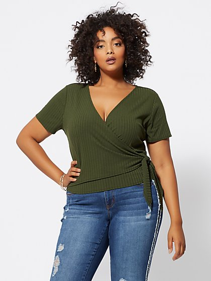 Plus Size Tara Wrap-Front Top - Fashion To Figure